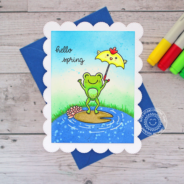Sunny Studio Stamps: Frilly Frame Dies Froggy Friends Chubby Bunny Spring Showers Spring Themed Cards by Vanessa Menhorn