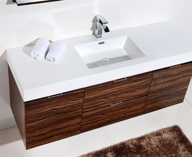 60 inch Floating Single Sink Modern Bathroom Vanity Walnut Finish