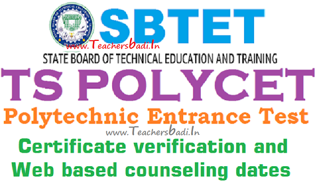 TS Polycet,Certificate verification,Web based counseling dates
