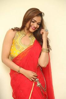 Actress Ashwini Po Shoot Stills In Red Saree With Golden Choli (1).jpg