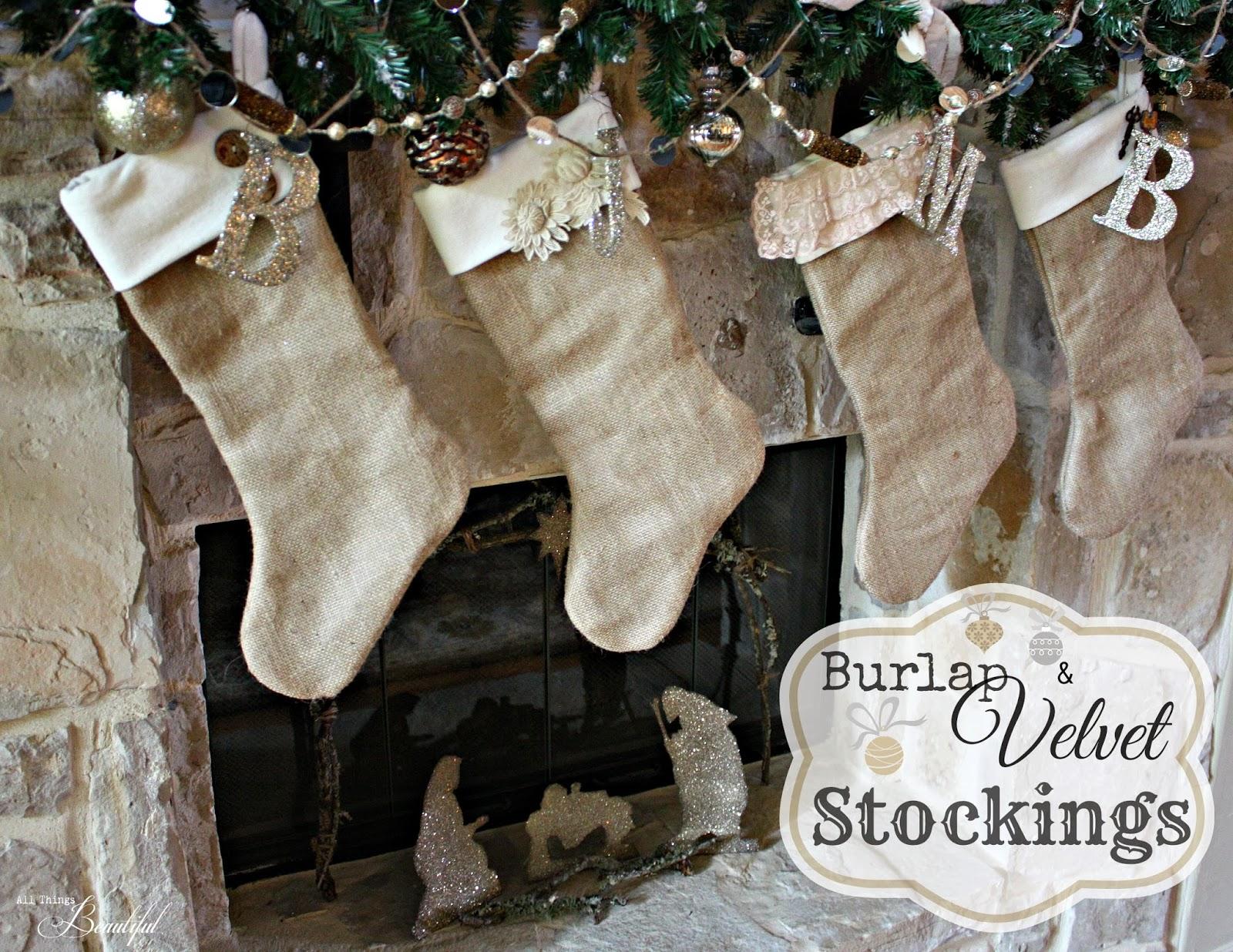 Diy burlap and velvet christmas stockings