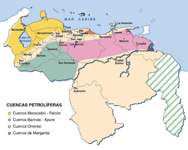 Mapa de las Cuencas Petrolíferas de Venezuela