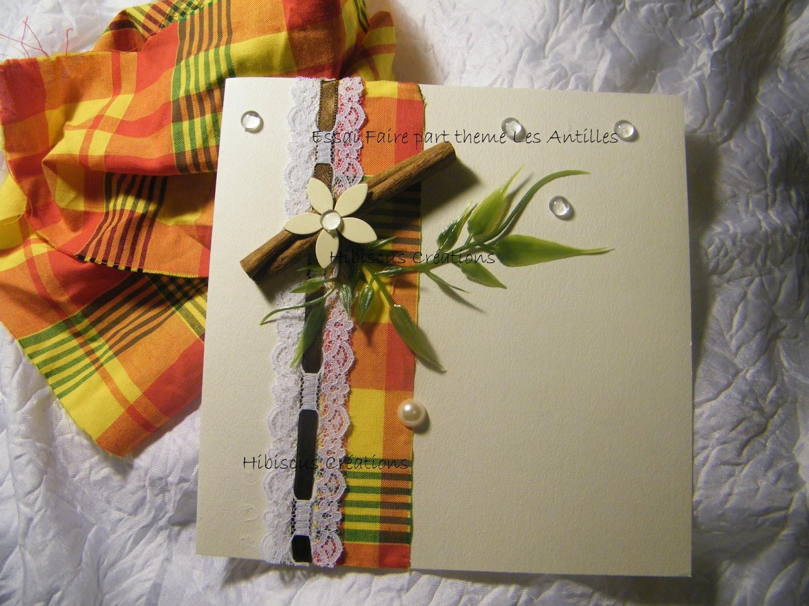 Faire part mariage madras Antilles Martinique Creole| Hibiscus