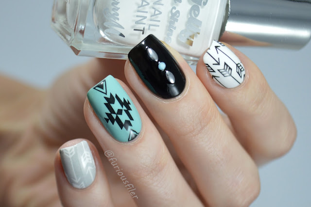 tribal nails water decals studs arrows mint monochrome