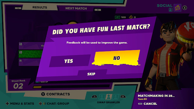 Knockout City did you have fun last match feedback