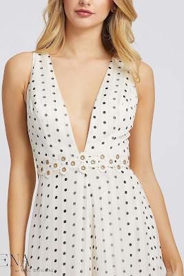 Plunging Neckline Jumpsuit evening dress Ieena For Mac Duggal Polka Dot color Front side