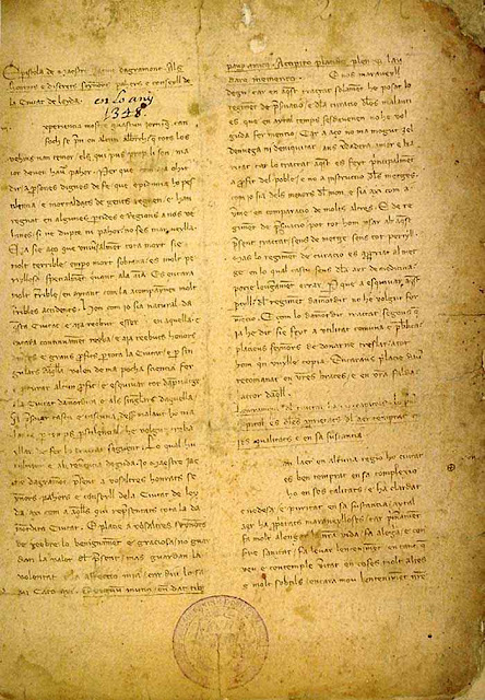 Fac-símile Regiment de preservació de pestilència, Lleida, 1348. Jacme d'Agremont, Biblioteca Virtual Cervantes