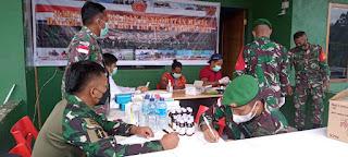 Sambut HUT TNI Ke-76, Satgas Yonif 751/VJS Gelar Bakti Sosial dan Pengobatan Massal