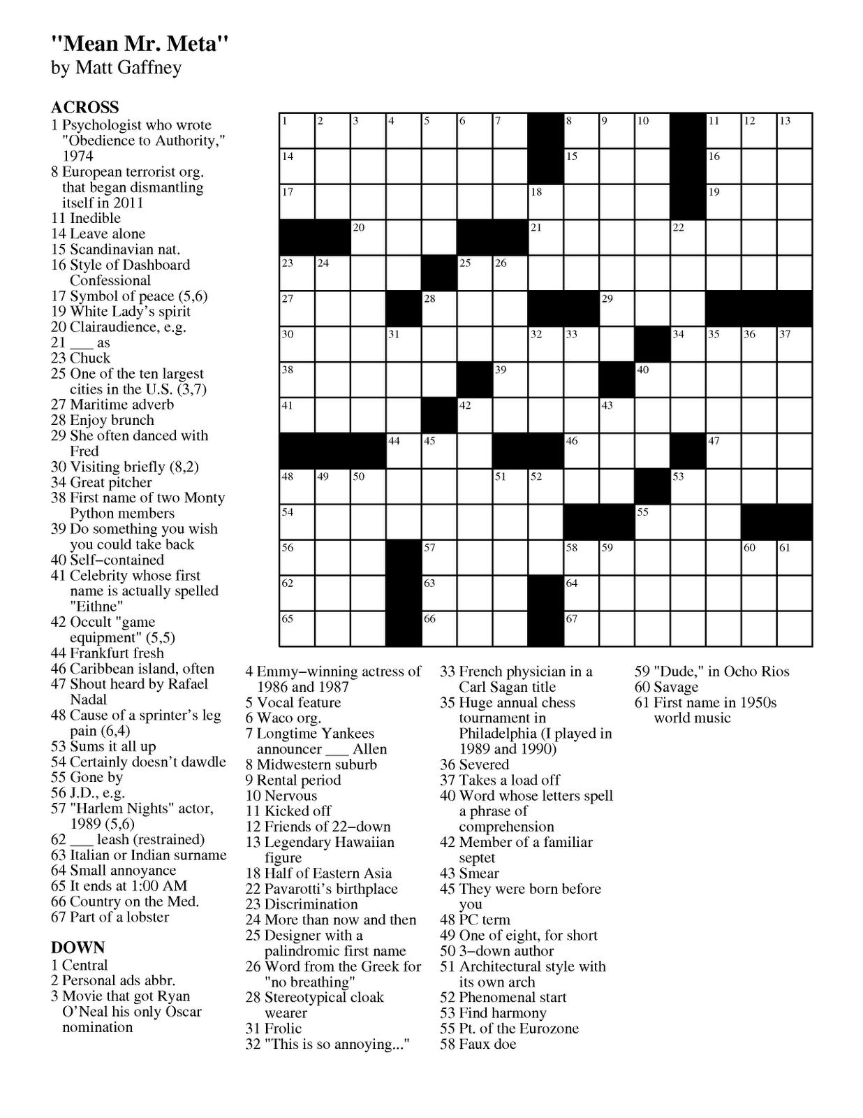 Matt Gaffney's Weekly Crossword Contest: MGWCC #174