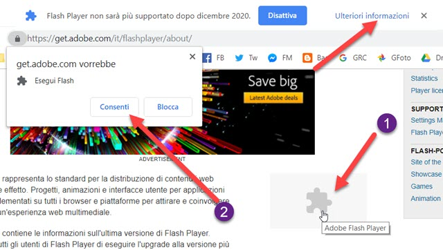 Abilitare Adobe Flash Player in Chrome 76+ | IpCeI