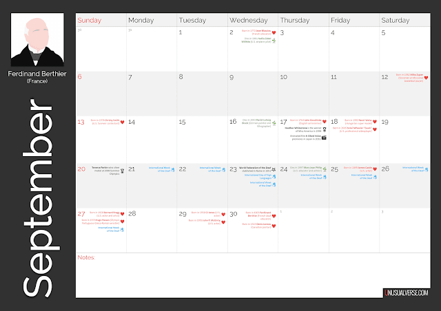 Deaf Calendar September 2020
