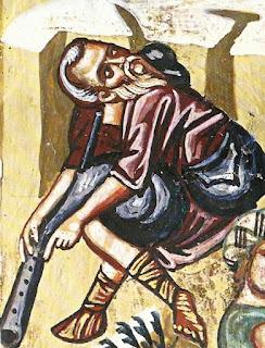 Βοσκός καθισμένος οκλαδόν με συστροφή της κεφαλής έχει σταματήσει το παίξιμο του αυλού, για να ακροασθεί το μήνυμα των αγγέλων.