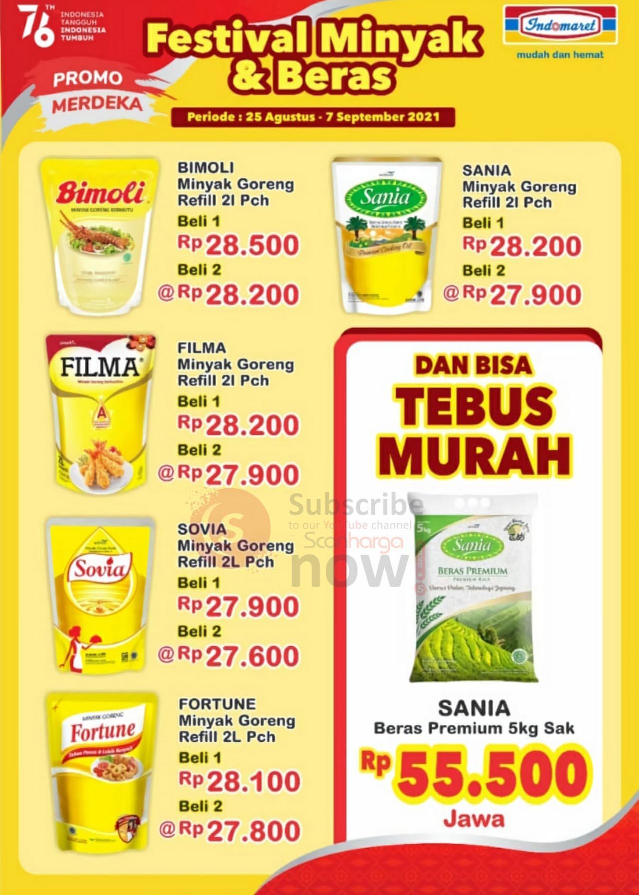 Promo Indomaret Festival Minyak Goreng & Beras Periode 25 Agustus - 7 September 2021