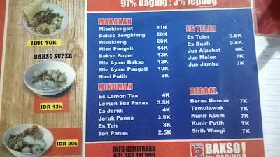 Daftar menu bakso tengkleng mas bambang