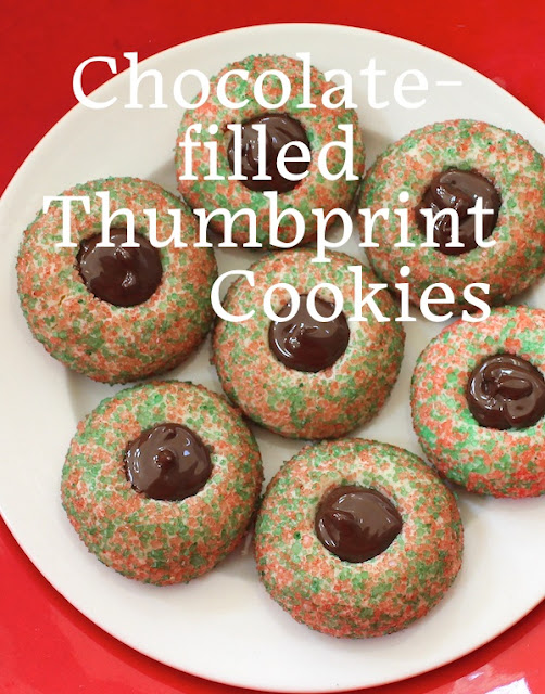 Food Lust People Love: These pretty little chocolate-filled Christmas thumbprint cookies are a mouthful of wonderful on a Christmas plate. Roll the dough into balls and coat them with sprinkles or colored coarse sugar, then bake and fill with melted chocolate when cool. Santa and his helpers will love these!
