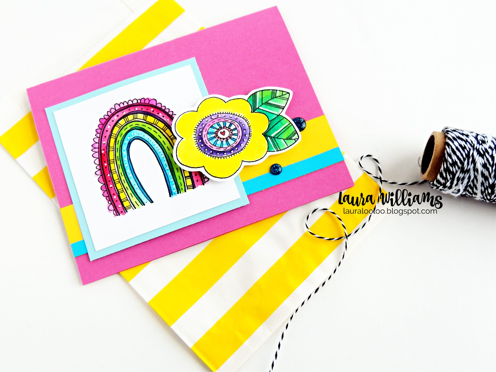 Make handmade cards with rainbows with stamps from Impression Obsession! Visit my blog to see more bright and shiny card ideas with stamping and die cutting.