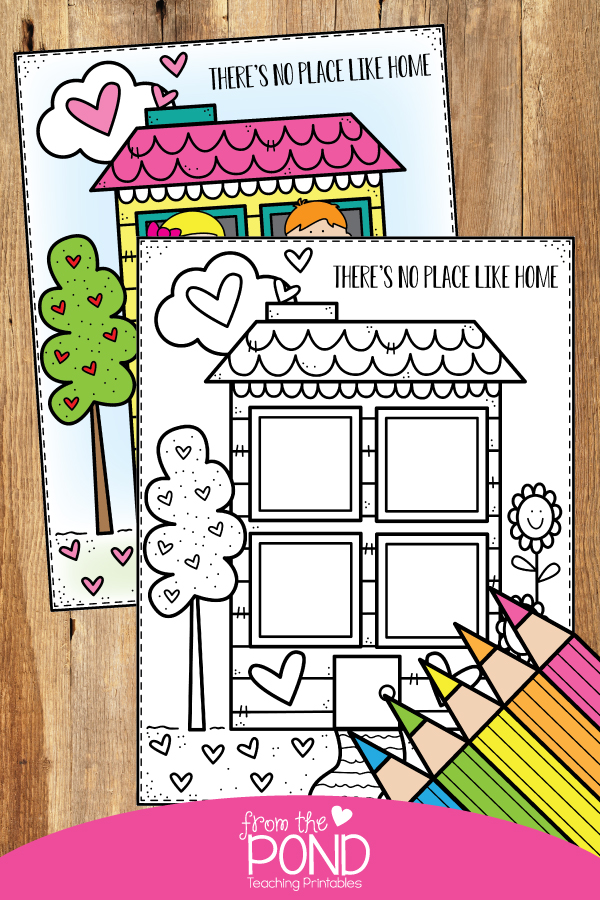 Free Coloring Page Family And Home