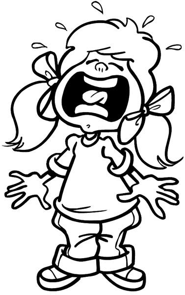 Caricatura de una niña bebé llorando en blanco y negro  coloraer
