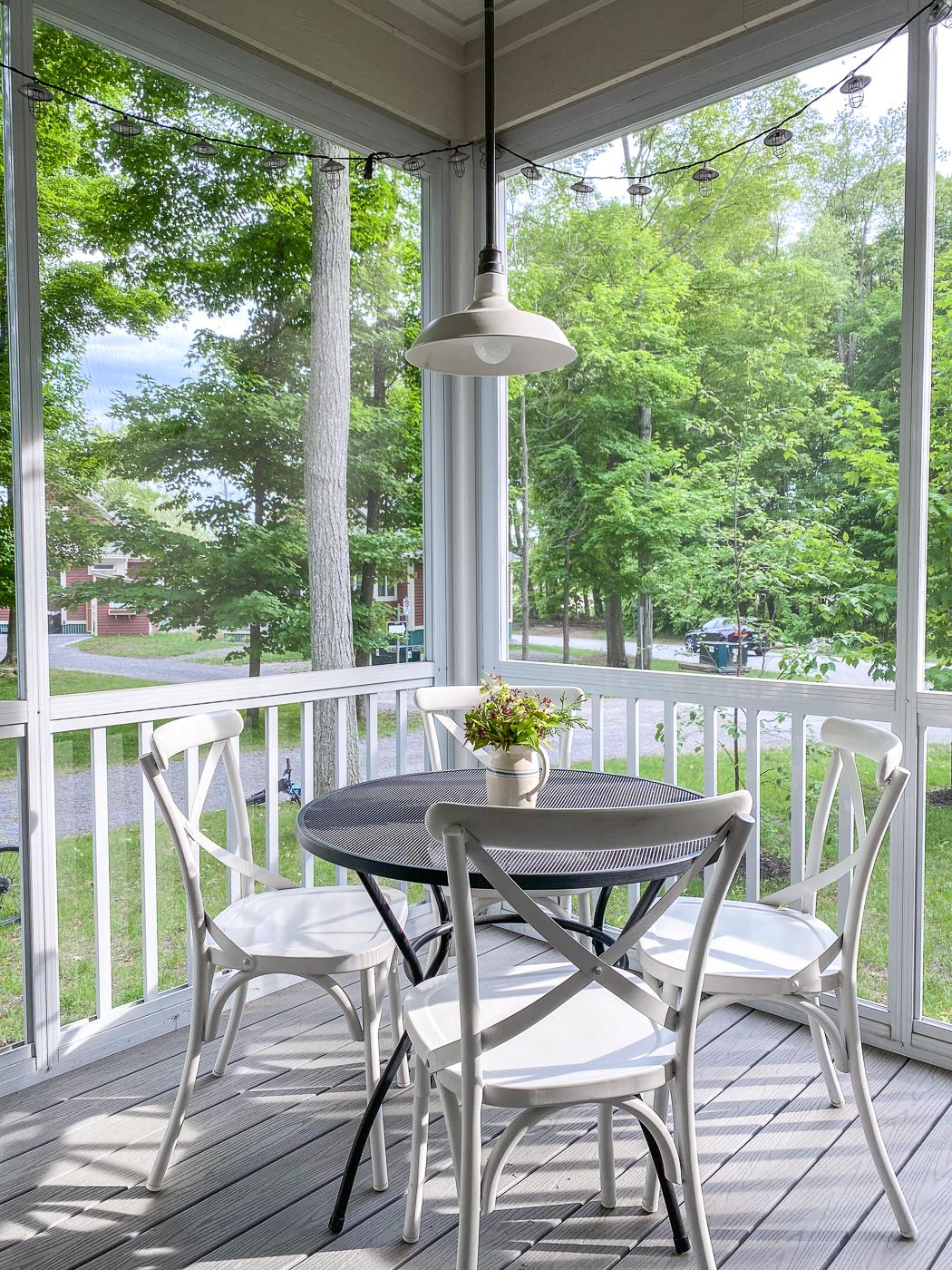 summer cottage decorating ideas, summer cottage decor, cottage porch decor, covered porch furniture