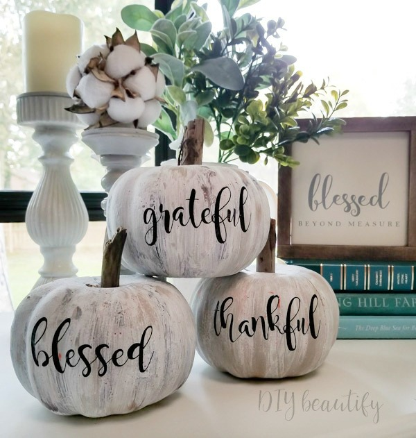 trio of white painted dollar store pumpkins with vinyl words