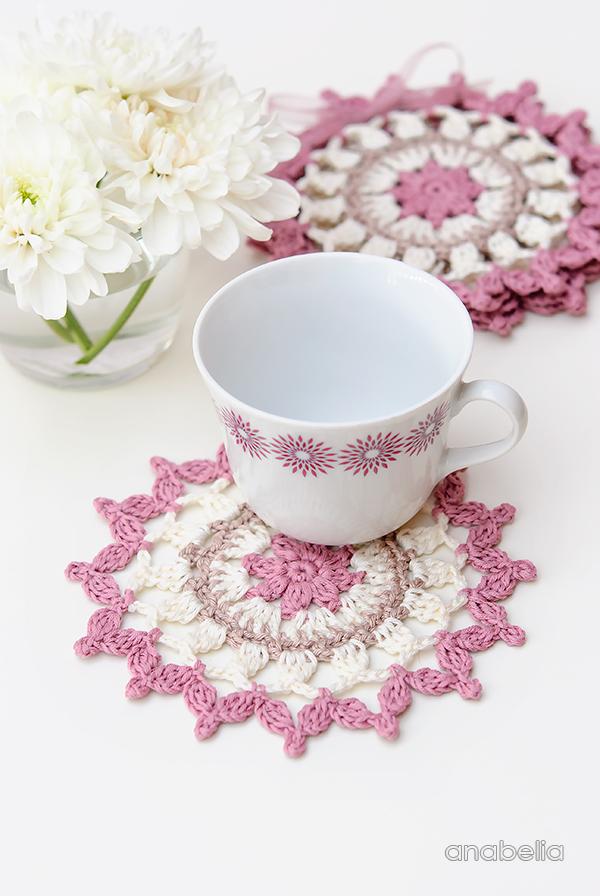 Easy Summer crochet coasters, Anabelia Craft Design