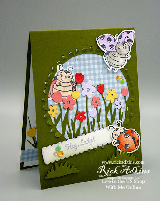 Sending Flowers Dies, Little Lady bug stamp set, die cut window card, Stampin' Up!, Rick Adkins Independent Stampin' Up! Demonstrator