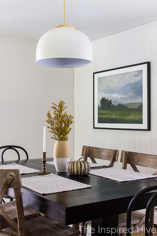 Modern farmhouse dining room with DIY fall centerpiece