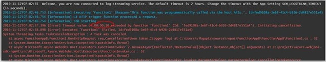 Azure functions timeout
