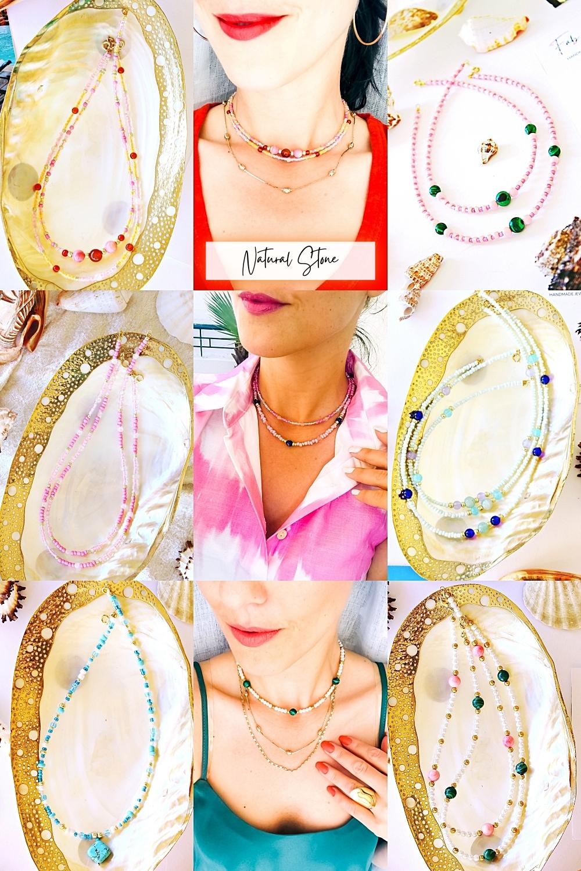 FAB & HAPPY natural stone dainty beaded handmade jewelry, nakit od prirodnog kamenja