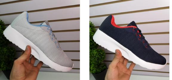 Pantofi dama sport gri, albastri ieftini din panza moderni