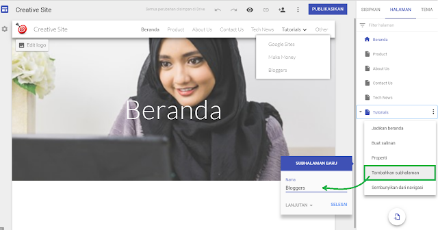 Cara membuat menu navigasi website di google sites - Gambar 3