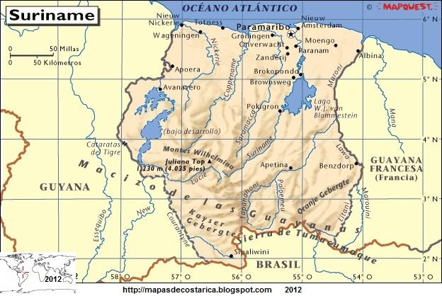 Resultado de imagen de mapa de surinam
