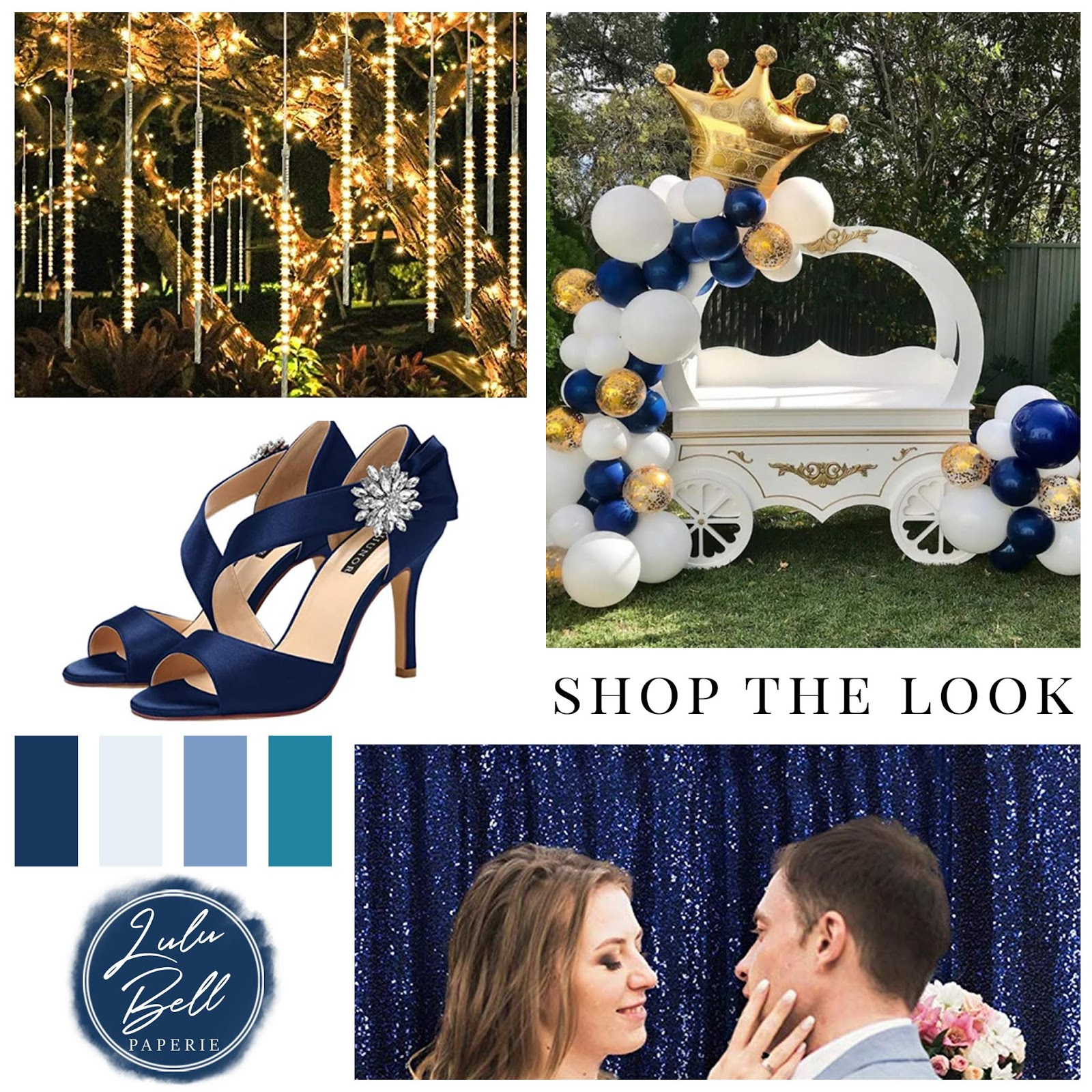 Shop the Look | Enchanted Forest Wedding | Hanging Fairy String Lights, Navy Blue Jeweled Bridal Shoes, Balloon Garland, and Sparkling Photo Booth backdrop