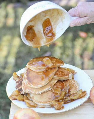 Pancakes with Apple Compote by Amanda Wilens