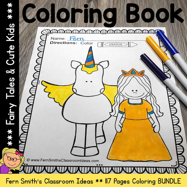 Fairy Tales Coloring Pages and Cute Students Coloring Pages 117 Page Bundle