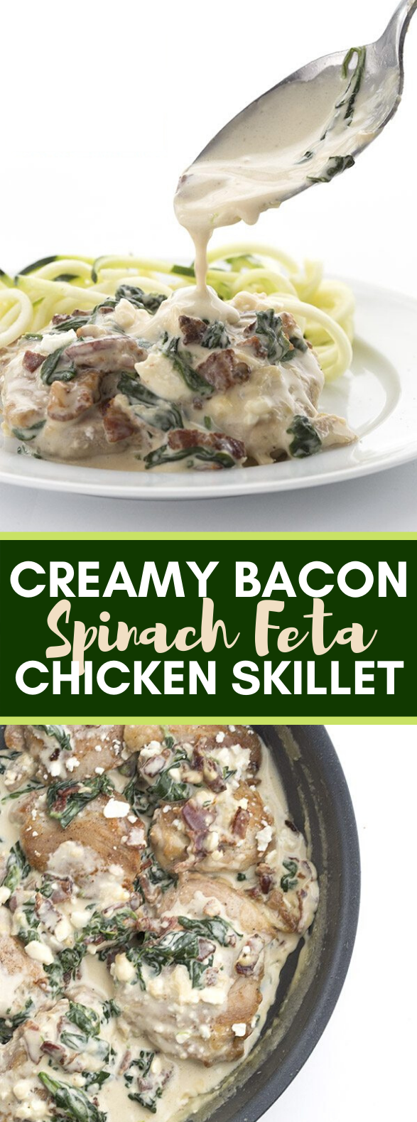 CREAMY BACON SPINACH FETA CHICKEN SKILLET #ketodiet #lowcarb