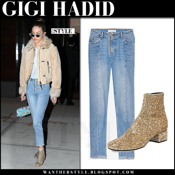 Gigi Hadid in beige fay jacket, straight sandro jeans and gold glitter ankle boots saint laurent what she wore