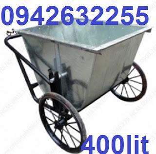 Xe đẩy rác 500l, xe gom rác bằng tôn, xe gom rác bằng tôn 500 lít giá rẻ