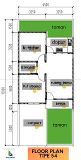 Floor Plan Tipe 54 Rumah dekat Kampus USU Padang Bulan Medan - PROMO TERBATAS - Hanya 285 Juta - Bunga Ester House
