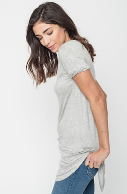Buy Now Heather grey Round Neck Tunic Tees Online $16 -@caralase.com