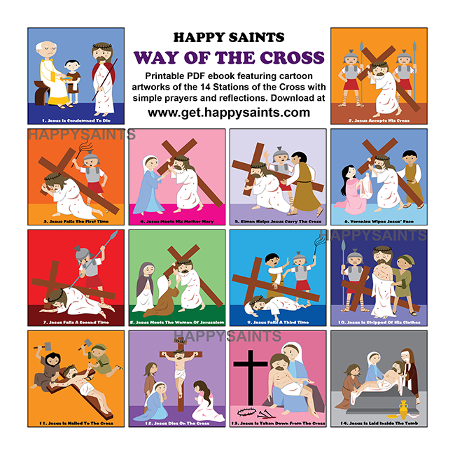 image relating to Stations of the Cross Prayers Printable named Pleased Saints: Stations of the Cross for Small children, People