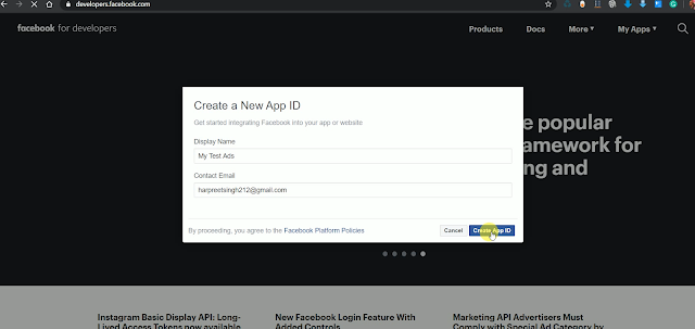 Name your App on Facebook Developer Console