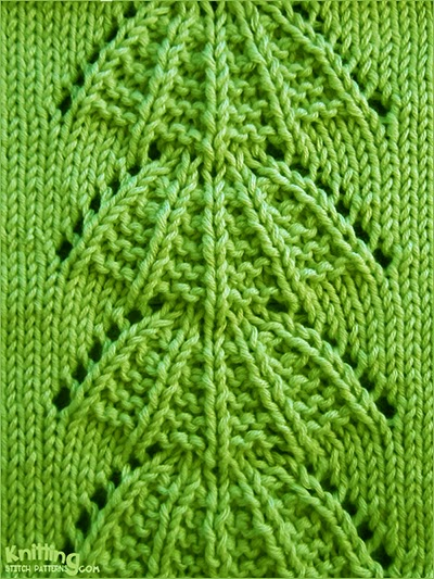 The Parasol stitch is a vertical lace stitch pattern that resembles parasols. The pattern is worked over 17 stitches on a background of stockinette stitch.