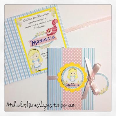 convite artesanal aniversário infantil personalizado festa alice no país das maravilhas menina 7 anos