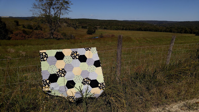 Henry Glass & Co. Sew Bee It fabric hexagon quilt