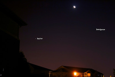 Crescent Moon Rises with Jupiter