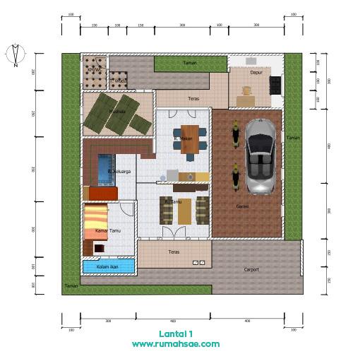 Denah Rumah 2 Lantai 13 m x 11 m