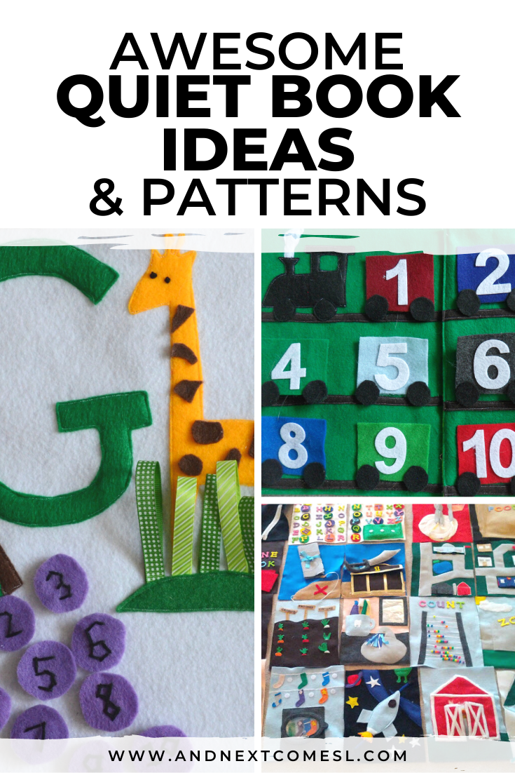 Lots of quiet book ideas, patterns, and templates to help you make a quiet book for toddlers and kids