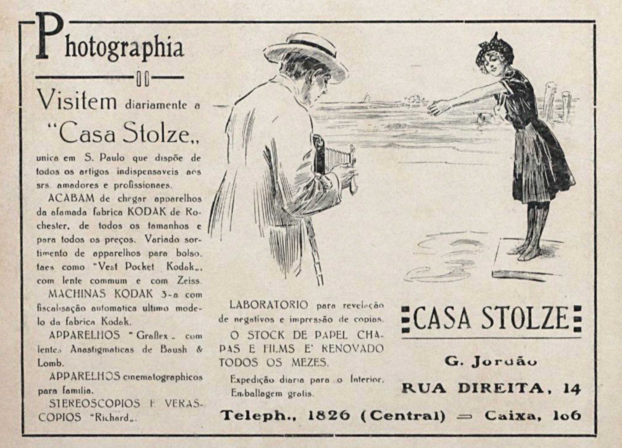 Anúncio da Casa Stolze em 1917 para os amantes da fotografia