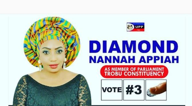 Singer and actress Diamond Appiah has lost her bid to be a member of Ghana's parliament.